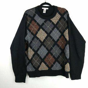 Geoffrey Beene XL Argyle 100% Lambswool Sweater